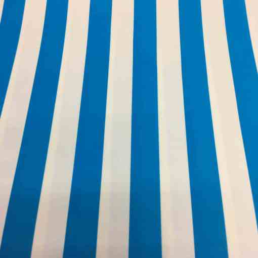 Lycra imprimé fond blanc rayure bleu ciel