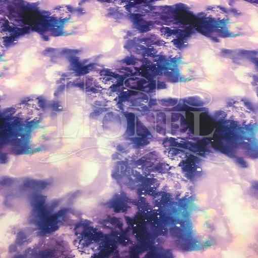 Lycra imprimé galaxie violet