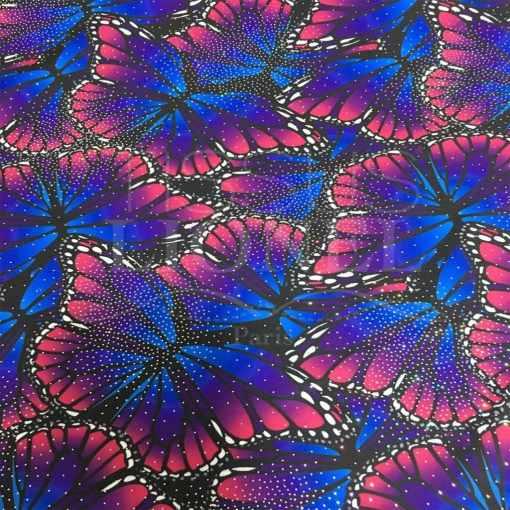 Lycra imprimé pailleté papillon