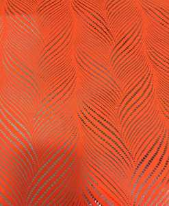 Lycra printed glittery neon orange zizag