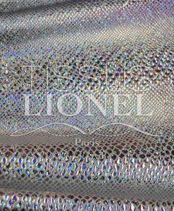 Lycra mit Pailetten weiß Silber Hologramm Schlange glitzernde