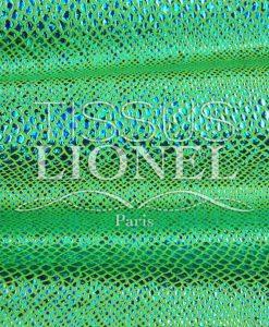 lycra pailleté serpent fond vert fluo pailleté turquoise hologramme