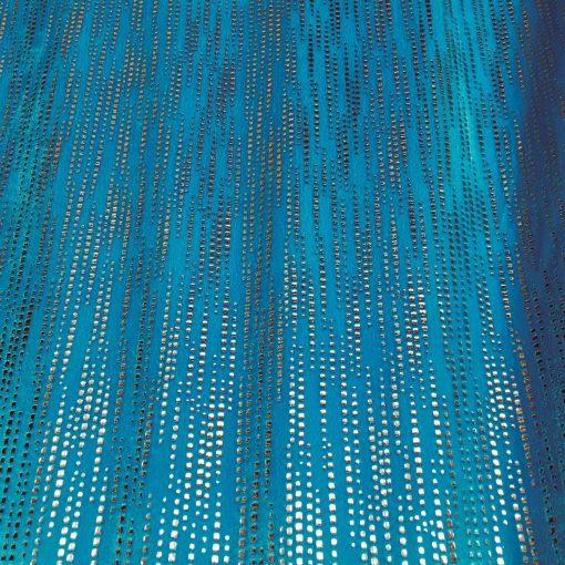 Lycra velours fond turquoise pailleté argent