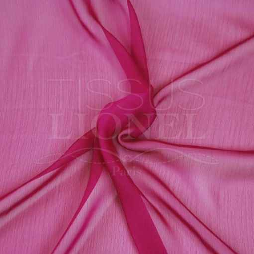 mousseline changeante deux files rose et fushia