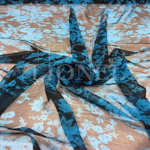 Mousseline de soie fleuris noir et turquoise