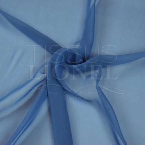 mousseline uni bleu jeans