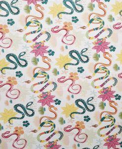 Popeline de coton bio motif serpent