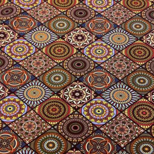 Popeline de coton mosaic