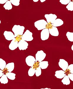 Satin de coton imprimé fleuris rouge