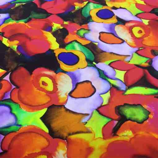 Satin de soie haute couture fleuris