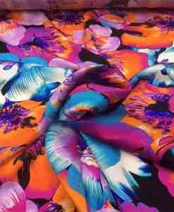 Satin de soie haute couture fleurs tropicale