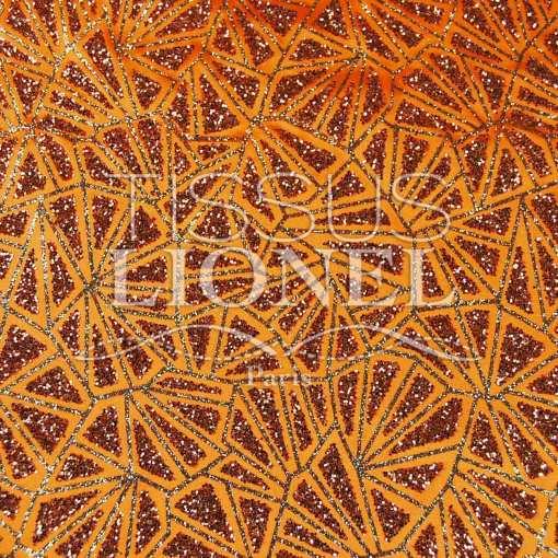 satin pailleté fond orange pailleté orange et or