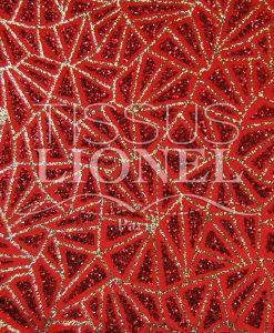 satin pailleté fond rouge pailleté rouge et or