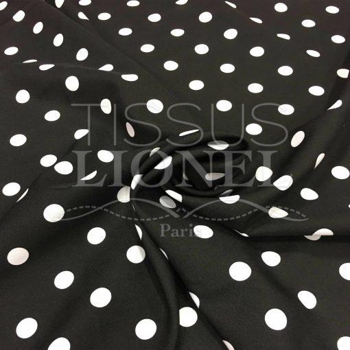Tissu Burlington fond noir petit pois blanc