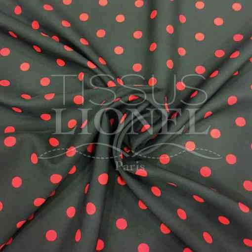 Tissu Burlington fond noir petit pois rouge