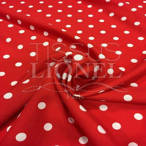 Tissu Burlington fond rouge petit pois blanc