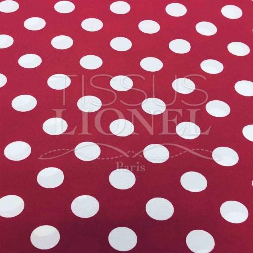 Tissu burlington gros pois blanc sur fond rouge