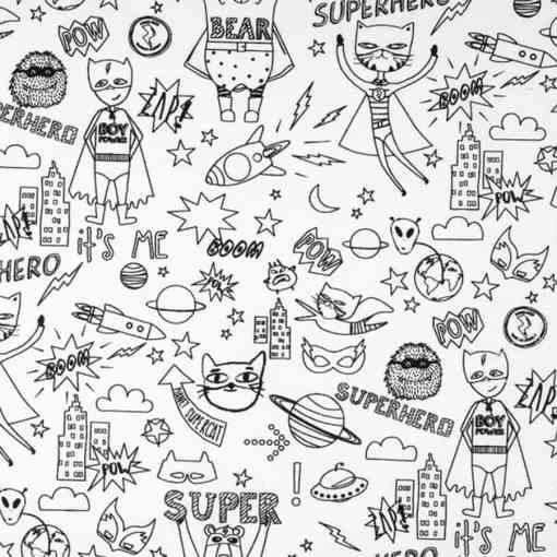 Tissu coton à colorier super hero