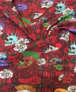 Tissu coton calavera écossais