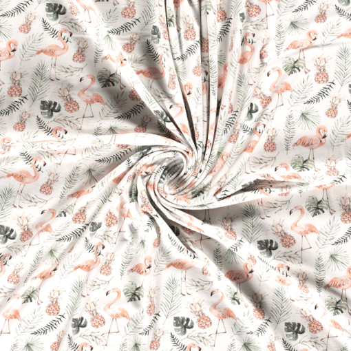 Tissu coton flamant rose printemps 2