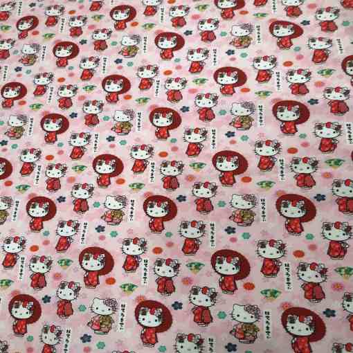 Tissu coton Hello Kitty rose