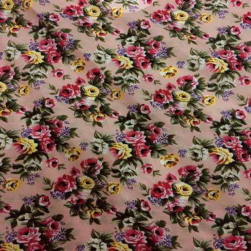 Tissu coton imprimé fleuris petite rose sur fond rose