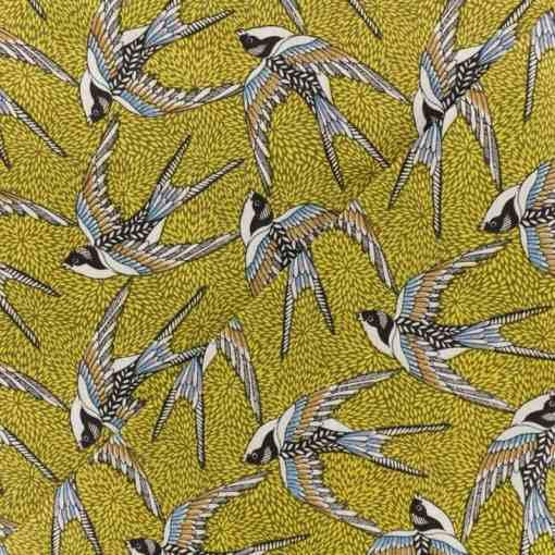 Tissu coton imprimé hirondelle jaune