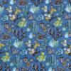 Tissu coton imprimé motif cactus bleu