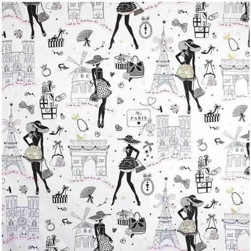 Tissu coton imprimé motif la petite robe noir Paris blanc