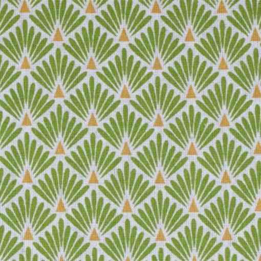 Tissu coton imprimé motif paon vert fond blanc