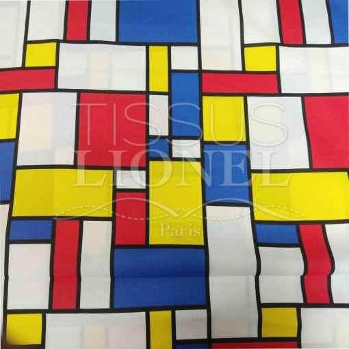 Tissu coton imprimé new mondrian