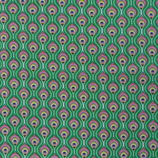 Tissu coton imprimé paon vert
