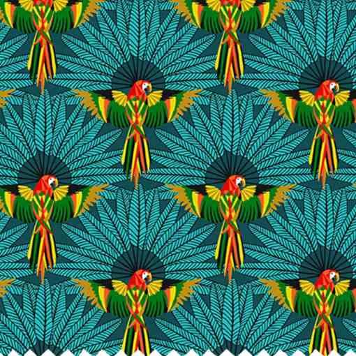 Tissu coton imprimé perroquet bleu