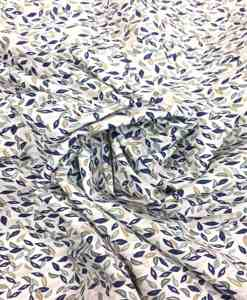 Tissu coton motif fleuris bleu