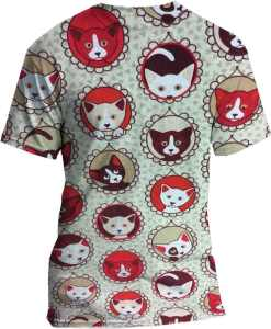 шаблон ситец ткань красный кот