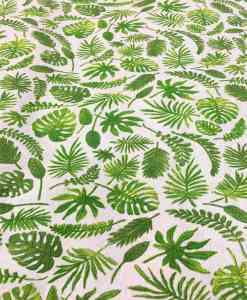 Tela de algodón patrón impreso de la hoja exótico verde