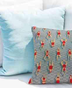 Tissu coton motif imprimé nageuse