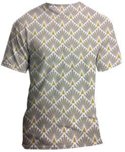 Tissu coton motif imprimé Paon beige clair