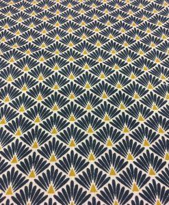 Tissu coton motif imprimé Paon beige et bleu foncé