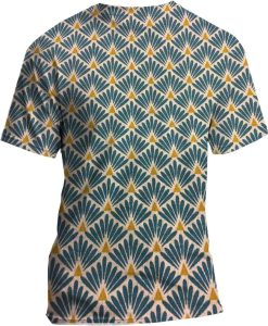 Tissu coton motif imprimé Paon beige et bleu tshirt