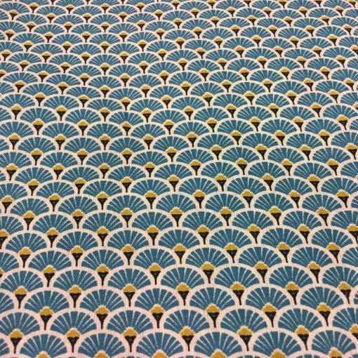 Tissu coton motif imprimé Paon bleu clair et or