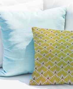 Tissu coton motif imprimé Paon jaune et blanc coussin
