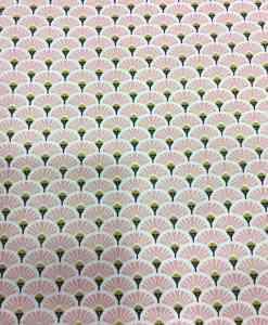 Tissu coton motif imprimé Paon rose