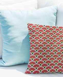 Tissu coton motif imprimé Paon rouge et or coussin