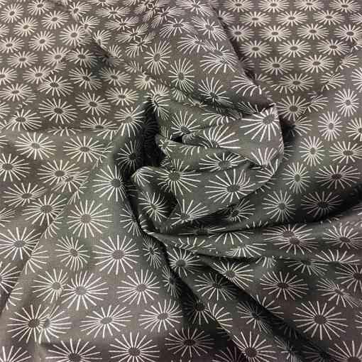 Tissu coton motif soleil gris