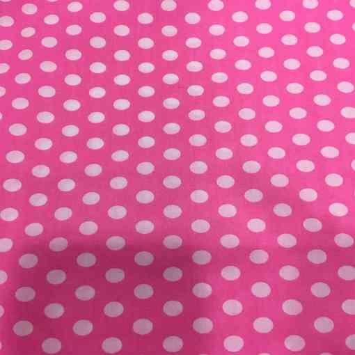 Tissu coton petit pois blanc sur fond rose