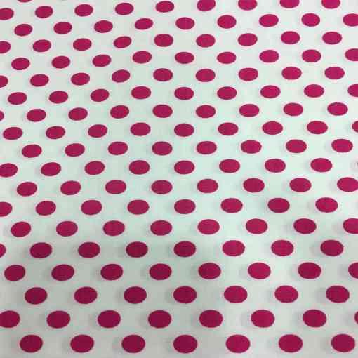Tissu coton petit pois fuchsia sur fond blanc