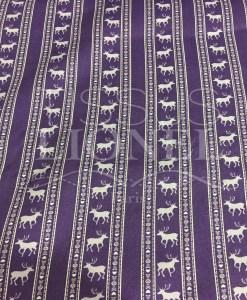 Tissu coton violet parme motif imprimé cerf
