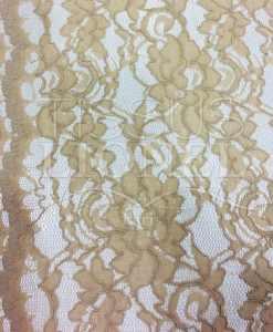 Tissu dentelle couture festonnée beige