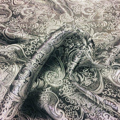 Tissu jacquard lurex noir et argent 2